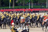 The Colonel's Review 2013: The Mounted Bands of the Household Cavalry during the Ride Past.. Horse Guards Parade, Westminster, London SW1,  United Kingdom, on 08 June 2013 at 11:54, image #744