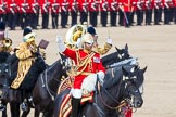 The Colonel's Review 2013: The Mounted Bands of the Household Cavalry during the Ride Past. The Director of Music of the Household Cavalry, Major Paul Wilman, The Life Guards.. Horse Guards Parade, Westminster, London SW1,  United Kingdom, on 08 June 2013 at 11:55, image #751