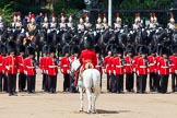 The Colonel's Review 2013: The Field Officer in Brigade Waiting, Lieutenant Colonel Dino Bossi, Welsh Guards, giving orders after the Ride Past.. Horse Guards Parade, Westminster, London SW1,  United Kingdom, on 08 June 2013 at 12:02, image #808