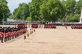 The Colonel's Review 2013: The six guards divisions have changed direction. Behind them, the Household Cavalry is leaving their position to march off.. Horse Guards Parade, Westminster, London SW1,  United Kingdom, on 08 June 2013 at 12:04, image #814