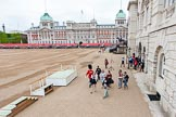 The first spectators arriving at Horse Guards Parade.