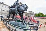 Major General's Review 2013: The equestrian statue of Field Marshal Frederick Sleigh Roberts on the western side of Horse Guards Parade, with the stand for the media built around it.. Horse Guards Parade, Westminster, London SW1,  United Kingdom, on 01 June 2013 at 09:27, image #7