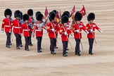 Major General's Review 2013: The 'Keepers of the Ground', guardsmen bearing marker flags for their respective regiments,march on to Horse Guards Parade.. Horse Guards Parade, Westminster, London SW1,  United Kingdom, on 01 June 2013 at 09:54, image #20