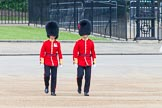 Major General's Review 2013: Major T P Y Radcliffe and Second Lieutenant J C Olley, No. 6 Guard, No. 7 Company Coldstream Guards, following the Keepers of the Ground to Horse Guards Arch.. Horse Guards Parade, Westminster, London SW1,  United Kingdom, on 01 June 2013 at 09:59, image #24