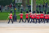 Major General's Review 2013: The first of the bands marching down Horse Guards Road from The Mall - the Band of the Coldstream Guards, lead by Senior Drum Major Matthew Betts, Grenadier Guards.. Horse Guards Parade, Westminster, London SW1,  United Kingdom, on 01 June 2013 at 10:12, image #38