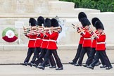 Major General's Review 2013: Musicians of the Band of the Coldstream Guards marching on Horse Guards Road.. Horse Guards Parade, Westminster, London SW1,  United Kingdom, on 01 June 2013 at 10:13, image #40