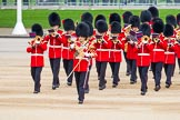 Major General's Review 2013: The Band of the Coldstream Guards, led by Senior Drum Major Matthew Betts, Grenadier Guards, marching onto Horse Guards Parade.. Horse Guards Parade, Westminster, London SW1,  United Kingdom, on 01 June 2013 at 10:13, image #45