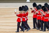 Major General's Review 2013: Musicians of the Band of the Coldstream Guards marching onto Horse Guards Parade.. Horse Guards Parade, Westminster, London SW1,  United Kingdom, on 01 June 2013 at 10:14, image #47