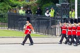 Major General's Review 2013: Drum Major Tony Taylor, Coldstream Guards, leading the second band to arrive at Horse Guards Parade, the Band of the Irish Guards.. Horse Guards Parade, Westminster, London SW1,  United Kingdom, on 01 June 2013 at 10:16, image #57