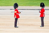 Major General's Review 2013: Garrison Sergeant Major WO1 Bill Mott, Welsh Guards, in a converstation with a guardsman.. Horse Guards Parade, Westminster, London SW1,  United Kingdom, on 01 June 2013 at 10:20, image #67