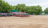 Major General's Review 2013: Drum Major Tony Taylor, Coldstream Guards, leading the Band of the Irish Guards past the Band of the Coldstream Guards that had arrived before.. Horse Guards Parade, Westminster, London SW1,  United Kingdom, on 01 June 2013 at 10:18, image #64