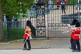 Major General's Review 2013: Drum Major Stephen Staite, Grenadier Guards, leading the Band of the Scots Guards onto Horse Guards Parade.. Horse Guards Parade, Westminster, London SW1,  United Kingdom, on 01 June 2013 at 10:24, image #80