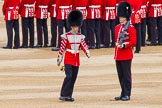Major General's Review 2013: Welsh Guards Drummer approaching Colour Sergeant R J Heath, Welsh Guards, carrying the Colour and the two sentries.. Horse Guards Parade, Westminster, London SW1,  United Kingdom, on 01 June 2013 at 10:32, image #120