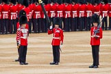 Major General's Review 2013: Welsh Guards Drummer approaching Colour Sergeant R J Heath, Welsh Guards, carrying the Colour and the two sentries.. Horse Guards Parade, Westminster, London SW1,  United Kingdom, on 01 June 2013 at 10:32, image #122