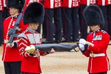 Major General's Review 2013: Colour Sergeant R J Heath, Welsh Guards, removing the Colour case.. Horse Guards Parade, Westminster, London SW1,  United Kingdom, on 01 June 2013 at 10:32, image #124