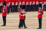 Major General's Review 2013: The uncasing of the Colour. The flag uncased, the Duty Drummer marches off.. Horse Guards Parade, Westminster, London SW1,  United Kingdom, on 01 June 2013 at 10:33, image #135