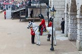 Major General's Review 2013: Garrison Sergeant Major WO1 Bill Mott and the Field Officer in Brigade Waiting, Lieutenant Colonel Bossi.. Horse Guards Parade, Westminster, London SW1,  United Kingdom, on 01 June 2013 at 10:37, image #157