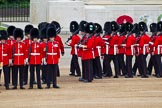 Major General's Review 2013: No. 3 Guard, 1st Battalion Welsh Guards, is opening a gap in the line for members of the Royal Family to arrive.. Horse Guards Parade, Westminster, London SW1,  United Kingdom, on 01 June 2013 at 10:43, image #183