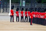 Major General's Review 2013: No. 3 Guard, 1st Battalion Welsh Guards, is opening a gap in the line for members of the Royal Family to arrive.. Horse Guards Parade, Westminster, London SW1,  United Kingdom, on 01 June 2013 at 10:44, image #186