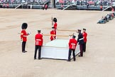 Major General's Review 2013: The dais, the saluting platform for HM The Queen, is moved into place in front of Horse Guards Arch, after the carriages have passed.. Horse Guards Parade, Westminster, London SW1,  United Kingdom, on 01 June 2013 at 10:53, image #212