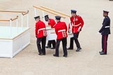Major General's Review 2013: The dais, the saluting platform for HM The Queen, is moved into place in front of Horse Guards Arch, after the carriages have passed.. Horse Guards Parade, Westminster, London SW1,  United Kingdom, on 01 June 2013 at 10:54, image #215