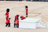 Major General's Review 2013: The dais, the saluting platform for HM The Queen, is moved into place in front of Horse Guards Arch, after the carriages have passed.. Horse Guards Parade, Westminster, London SW1,  United Kingdom, on 01 June 2013 at 10:55, image #217