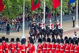 Major General's Review 2013: Leading the Royal Procession from The Mall onto Horse Guards Parade - Brigade Major Household Division Lieutenant Colonel Simon Soskin, Grenadier Guards, followed by four Troopers of The Life Guards.. Horse Guards Parade, Westminster, London SW1,  United Kingdom, on 01 June 2013 at 10:55, image #218