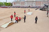 Major General's Review 2013: The dais, the saluting platform for HM The Queen, is moved into place in front of Horse Guards Arch, after the carriages have passed.. Horse Guards Parade, Westminster, London SW1,  United Kingdom, on 01 June 2013 at 10:54, image #214