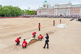 Major General's Review 2013: The dais, the saluting platform for HM The Queen, is moved into place in front of Horse Guards Arch, after the carriages have passed.. Horse Guards Parade, Westminster, London SW1,  United Kingdom, on 01 June 2013 at 10:54, image #216