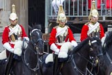 Major General's Review 2013: The Four Troopers of The Life Guards, following the Brigade Major at the head of the Royal Procession.. Horse Guards Parade, Westminster, London SW1,  United Kingdom, on 01 June 2013 at 10:56, image #224