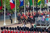 Major General's Review 2013: The Mounted Bands of the Household Cavalry are marching down Horse Guards Road as the third element of the Royal Procession.. Horse Guards Parade, Westminster, London SW1,  United Kingdom, on 01 June 2013 at 10:56, image #225