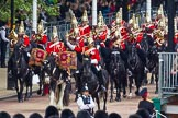 Major General's Review 2013: The Mounted Bands of the Household Cavalry are marching down Horse Guards Road as the third element of the Royal Procession.. Horse Guards Parade, Westminster, London SW1,  United Kingdom, on 01 June 2013 at 10:56, image #226