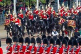 Major General's Review 2013: The Mounted Bands of the Household Cavalry are marching down Horse Guards Road as the third element of the Royal Procession.. Horse Guards Parade, Westminster, London SW1,  United Kingdom, on 01 June 2013 at 10:56, image #227