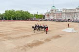 Major General's Review 2013: Leading the Royal Procession from The Mall onto Horse Guards Parade - Brigade Major Household Division Lieutenant Colonel Simon Soskin, Grenadier Guards, followed by four Troopers of The Life Guards.. Horse Guards Parade, Westminster, London SW1,  United Kingdom, on 01 June 2013 at 10:57, image #228
