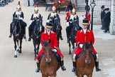 Major General's Review 2013: Two Grooms, The Royal Household followed by Four Troopers of The Blue and Royals (Royal Horse Guards and 1st Dragoons).. Horse Guards Parade, Westminster, London SW1,  United Kingdom, on 01 June 2013 at 11:02, image #284