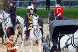Major General's Review 2013: Major General Commanding the Household Division and General Officer Commanding London District, Major George Norton, on horseback after the Inspection of the Line.. Horse Guards Parade, Westminster, London SW1,  United Kingdom, on 01 June 2013 at 11:05, image #302