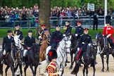 Major General's Review 2013: The  Royal Procession during Inspection of the Line. First row-A two gentlemen, a Captain and Lieutenant Colonel representing Royal Colonels follow by The Crown Equerry Colonel Toby Browne,The Equerry in Waiting to Her Majesty, Lieutenant Colonel Alexander Matheson of Matheson, younger.. Horse Guards Parade, Westminster, London SW1,  United Kingdom, on 01 June 2013 at 11:05, image #304