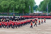 Major General's Review 2013: The Massed Band Troop begins with the slow march - the Waltz from Les Huguenots. No. 1 Guard, the Escort for the Colour with the Ensign in the centre, and the King's Troop Royal Horse Artillery can be seen on top of the image.. Horse Guards Parade, Westminster, London SW1,  United Kingdom, on 01 June 2013 at 11:07, image #312