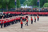 Major General's Review 2013: The Massed Band Troop begins with the slow march - the Waltz from Les Huguenots. No. 1 Guard, the Escort for the Colour with the Ensign in the centre, and the King's Troop Royal Horse Artillery can be seen on top of the image.. Horse Guards Parade, Westminster, London SW1,  United Kingdom, on 01 June 2013 at 11:07, image #313
