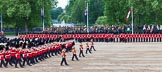 Major General's Review 2013: The Massed Band Troop begins with the slow march - the Waltz from Les Huguenots. No. 1 Guard, the Escort for the Colour with the Ensign in the centre, and the King's Troop Royal Horse Artillery can be seen on top of the image.. Horse Guards Parade, Westminster, London SW1,  United Kingdom, on 01 June 2013 at 11:07, image #314
