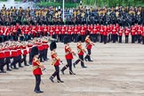 Major General's Review 2013: The Massed Band Troop begins with the slow march - the Waltz from Les Huguenots. No. 1 Guard, the Escort for the Colour with the Ensign in the centre, and the King's Troop Royal Horse Artillery can be seen on top of the image.. Horse Guards Parade, Westminster, London SW1,  United Kingdom, on 01 June 2013 at 11:08, image #315