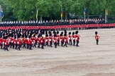 Major General's Review 2013: The Massed Band Troop begins with the slow march - the Waltz from Les Huguenots. The Field Officer, and behind him the Third and Fourth Division of the Sovereign's Escort, The Blues and Royals, can be seen on top of the image.. Horse Guards Parade, Westminster, London SW1,  United Kingdom, on 01 June 2013 at 11:08, image #320