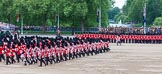 Major General's Review 2013: The Massed Band Troop - the final stages of the countermarch. The Lone Drummer, in the top right of the image, has broken away, and is marching to the right of No. 1 Guard.. Horse Guards Parade, Westminster, London SW1,  United Kingdom, on 01 June 2013 at 11:12, image #341