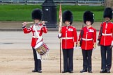 """Major General's Review 2013: The """"Lone Drummer"""", Lance Corporal Christopher Rees, salutes with his drumsticks before re-joining the band.. Horse Guards Parade, Westminster, London SW1,  United Kingdom, on 01 June 2013 at 11:14, image #359"""
