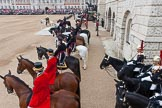 Major General's Review 2013: A wide-angle view over the Horse Guards Building side of the parade ground.Next to the dais members of the Royal Procession.. Horse Guards Parade, Westminster, London SW1,  United Kingdom, on 01 June 2013 at 11:13, image #352
