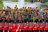 Major General's Review 2013: No. 1 Guard (Escort for the Colour),1st Battalion Welsh Guards behind them The King's Troop Royal Horse Artillery.. Horse Guards Parade, Westminster, London SW1,  United Kingdom, on 01 June 2013 at 11:15, image #368