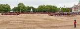 Major General's Review 2013: A wide angle overview of Horse Guards Parade. on the left, No. 1 Guard (Escort for the Colour),1st Battalion Welsh Guards is moving forward to receive the Colour.. Horse Guards Parade, Westminster, London SW1,  United Kingdom, on 01 June 2013 at 11:16, image #373