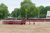 Major General's Review 2013: A wide angle overview of Horse Guards Parade. on the left, No. 1 Guard (Escort for the Colour),1st Battalion Welsh Guards is moving forward to receive the Colour.. Horse Guards Parade, Westminster, London SW1,  United Kingdom, on 01 June 2013 at 11:16, image #375