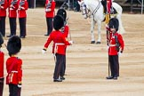 Major General's Review 2013: No. 1 Guard the Regimental Sergeant Major, WO1 Martin Topps, Welsh Guards marches forward followed by the Ensign.. Horse Guards Parade, Westminster, London SW1,  United Kingdom, on 01 June 2013 at 11:18, image #389
