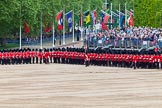 Major General's Review 2013: The Escort to the Colour troops the Colour past No. 6 Guard, No.7 Company  Coldstream Guards.. Horse Guards Parade, Westminster, London SW1,  United Kingdom, on 01 June 2013 at 11:23, image #424